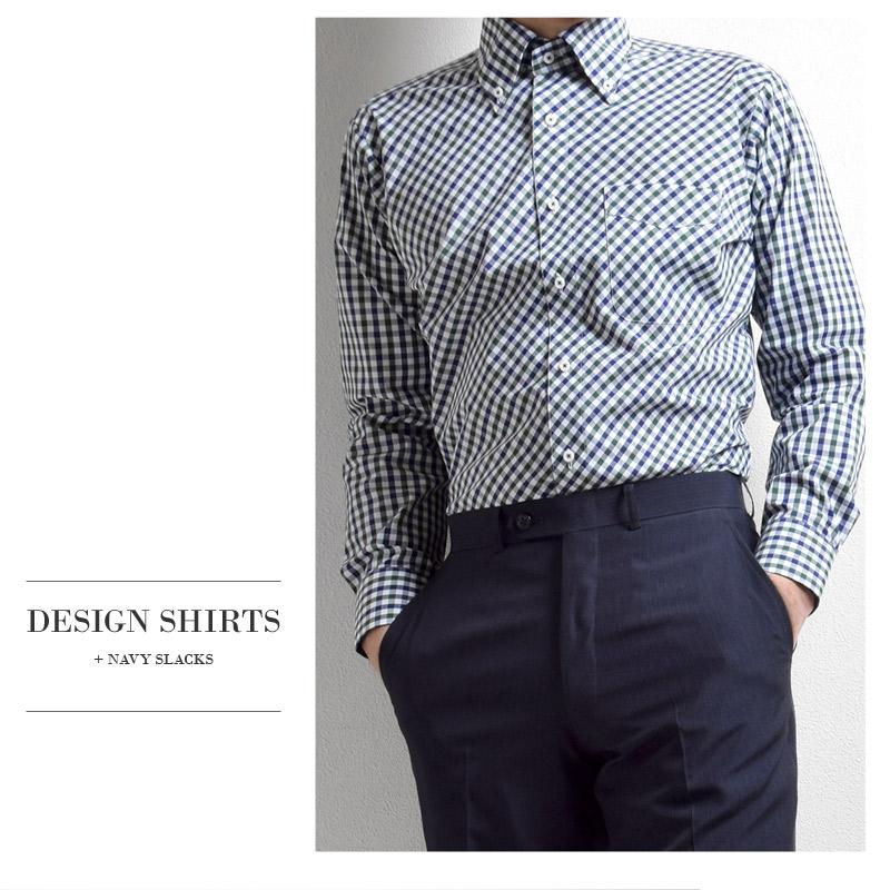 長袖 形態安定 ナチュラルストレッチ ボタンダウン ネイビーグリーン チェック メンズワイシャツ 綿50%