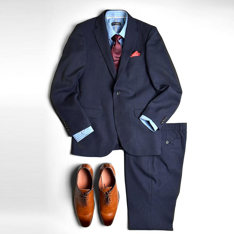 長袖 形態安定 ストレッチ素材 ラウンドカラー ブルーストライプ シャンブレー メンズワイシャツ 綿50%