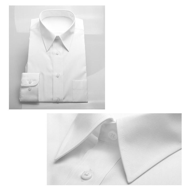 長袖 白ワイシャツ レギュラーカラー メンズ yシャツ 形態安定 ノーアイロン 無地
