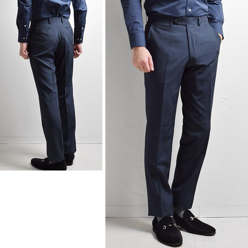 A体 AB体 春夏 シングル 2ツボタン メンズスーツ 薄手 洗えるパンツ ダークブルーピンストライプ レギュラーシルエット