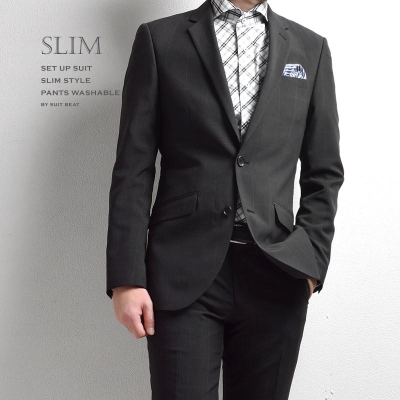 Y体 A体 春夏 シングル 2ツボタン スリム メンズスーツ 薄手 洗えるパンツ ブラックウィンドペン 細身シルエット ノータック